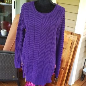 Michael Kors long cable knit grape purple sweater